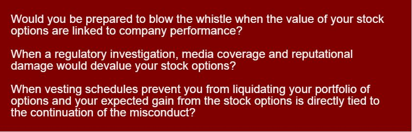 Stock options and whistleblowing